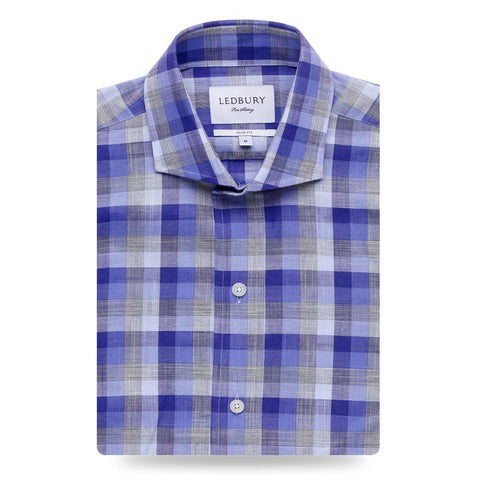 The Navy Belforte Chambray Casual Shirt