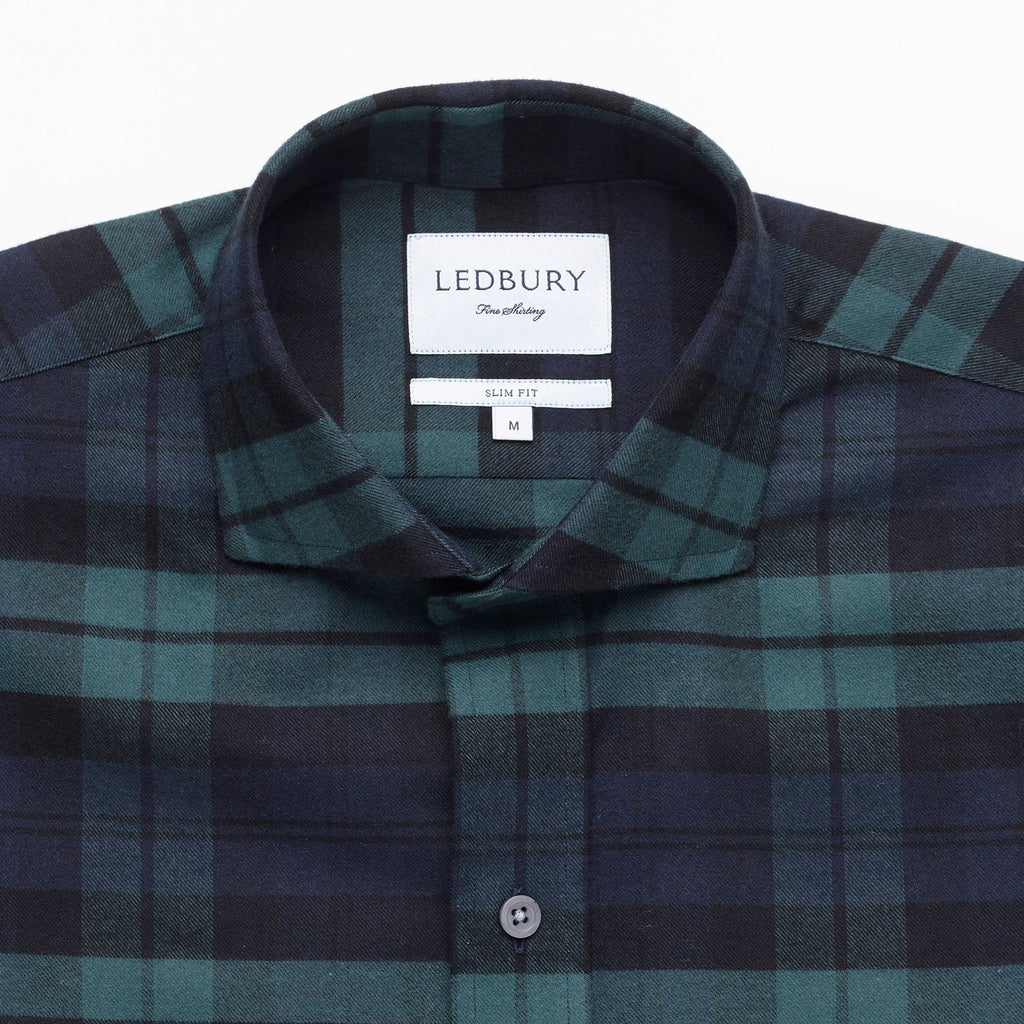 The Navy Gibbs Flannel Casual Shirt Casual Shirt- Ledbury