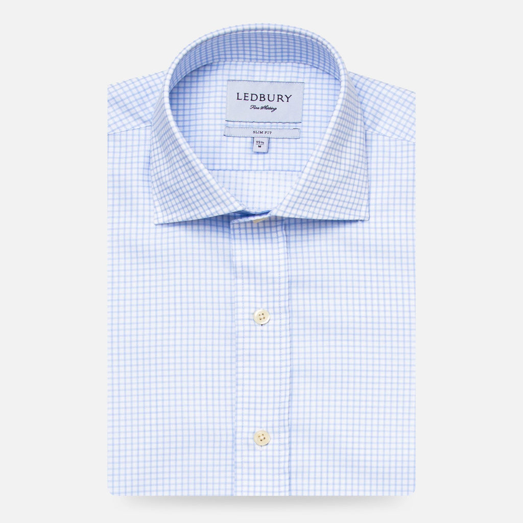 The Light Blue Kimball Check Dress Shirt Dress Shirt- Ledbury