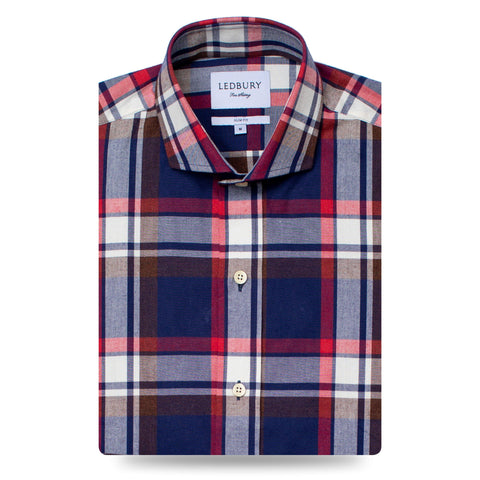 The Dark Blue Tilworth Plaid Casual Shirt | Ledbury Men's Casual Shirts