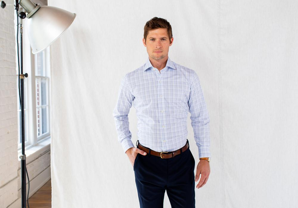 The Blue Drazin Check Dress Shirt | Ledbury Men's Dress Shirts