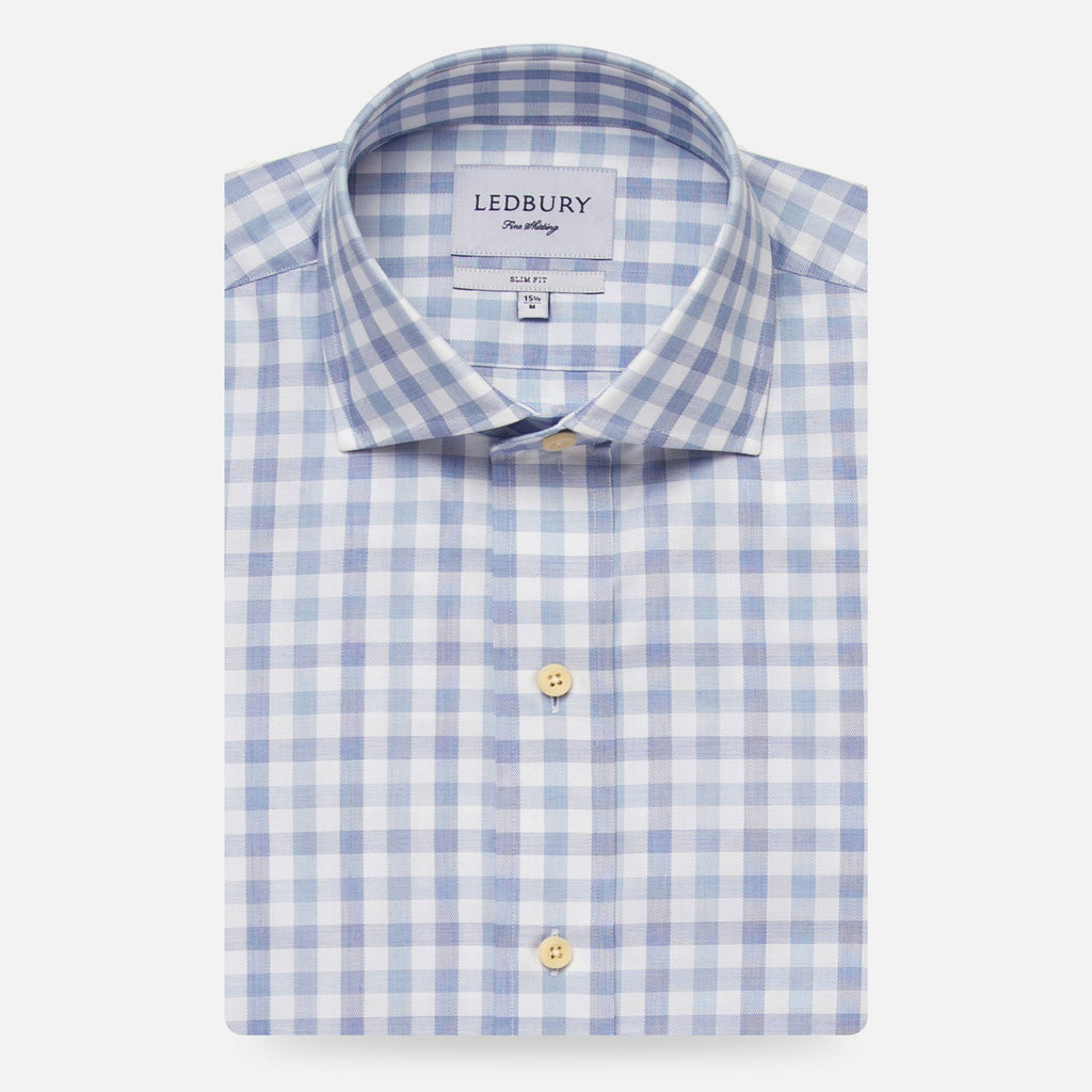 The Light Blue Corbly Gingham Dress Shirt Dress Shirt- Ledbury