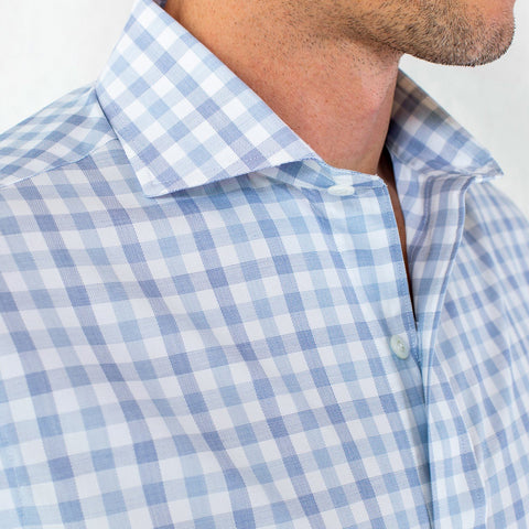 The Light Blue Corbly Gingham Dress Shirt | Ledbury Men's Dress Shirts