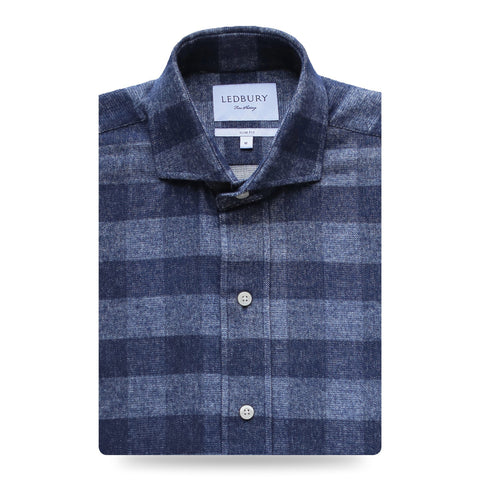 The Navy Randolph Flannel | Ledbury Men's Flannels & Casual Shirts