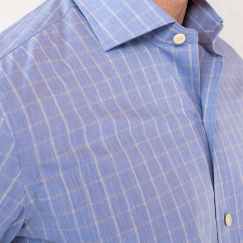 The Blue Woodward Windowpane Dress Shirt | Ledbury Men's Dress Shirts