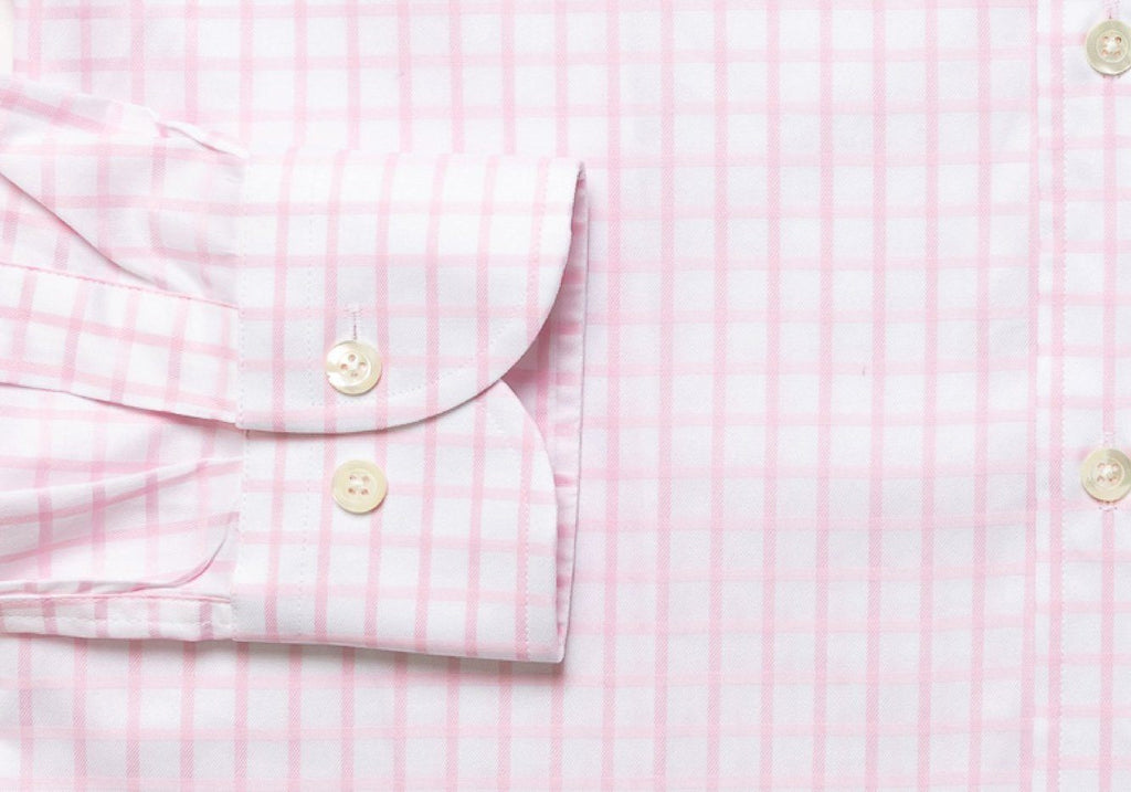 The Pink Fine Twill Windowpane Dress Shirt Dress Shirt- Ledbury