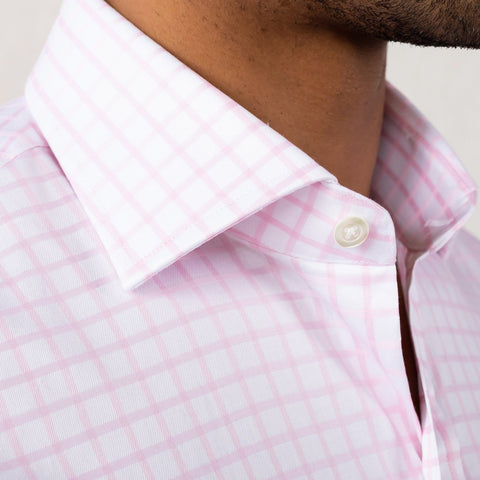 The Pink Fine Twill Windowpane Dress Shirt