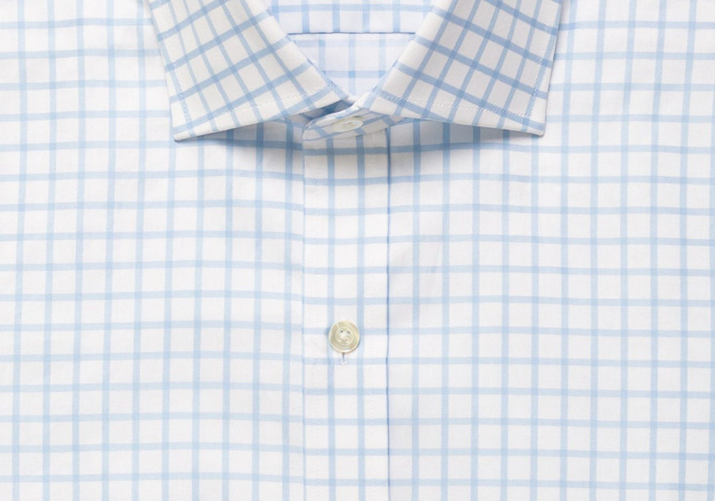 The Blue Fine Twill Windowpane Dress Shirt Dress Shirt- Ledbury