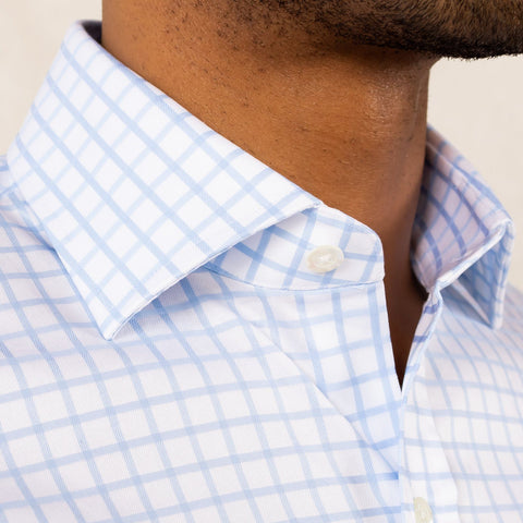 The Blue Fine Twill Windowpane Dress Shirt