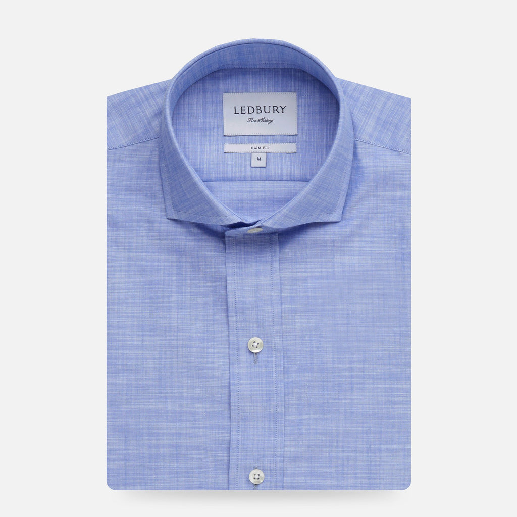 The Blue McDaniel Chambray Casual Shirt Dress Shirt- Ledbury