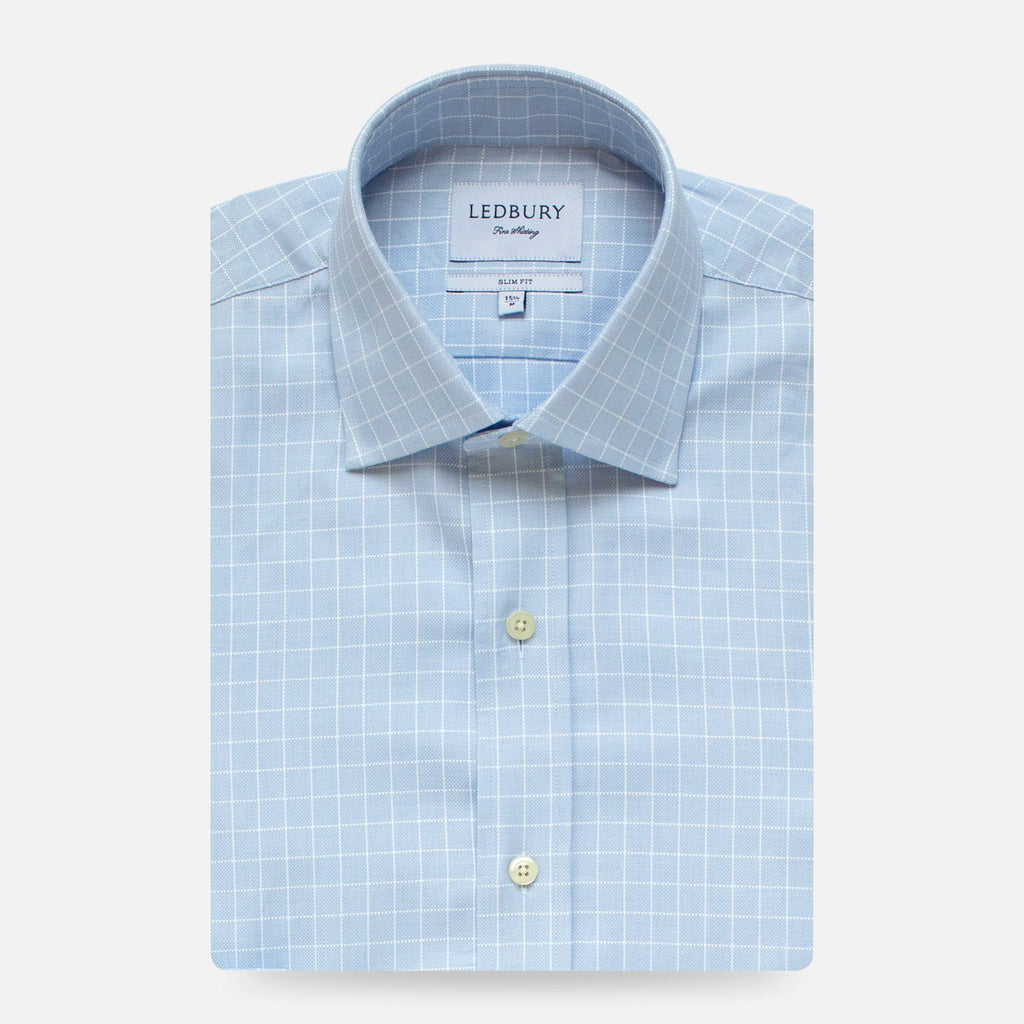 The Light Blue Haynes Check Dress Shirt Dress Shirt- Ledbury