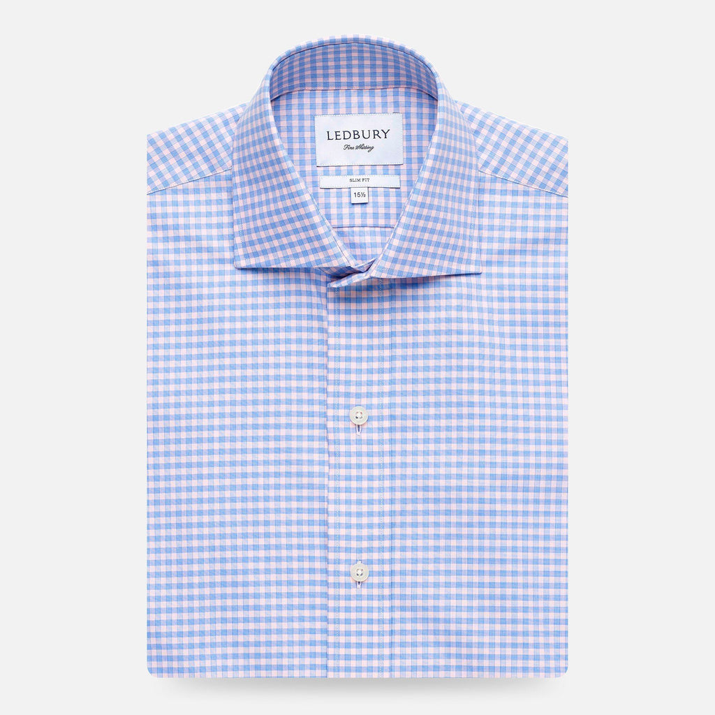 The Pink Prestwick Gingham Dress Shirt Dress Shirt- Ledbury