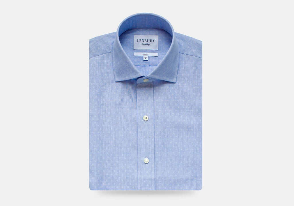 The Blue Loren Dot Dress Shirt Dress Shirt- Ledbury