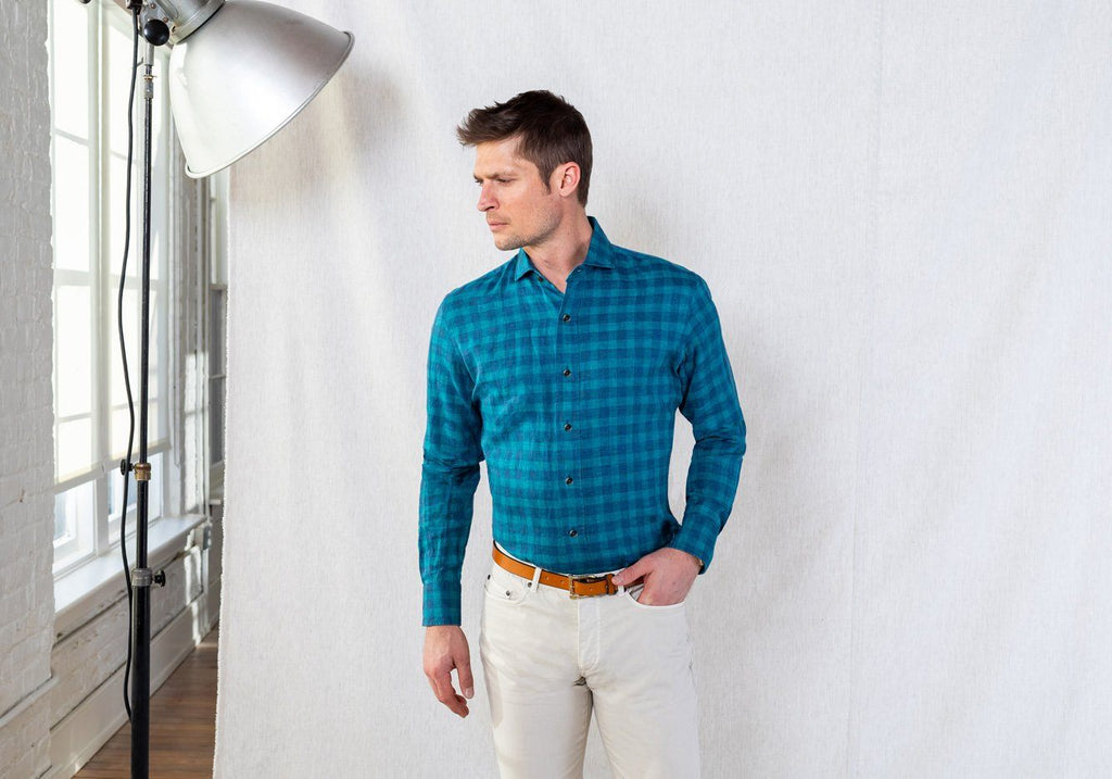 The Leaf McClellan Cotton Linen Gingham Casual Shirt