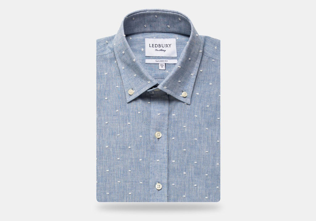 The Washed Blue Ghaiser Clipped Dot Casual Shirt Casual Shirt- Ledbury