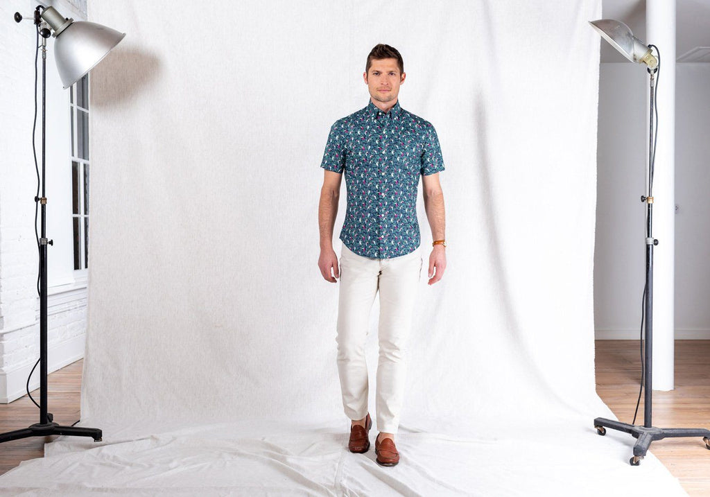 The Short Sleeve Tropicale Printed Poplin Casual Shirt Casual Shirt- Ledbury