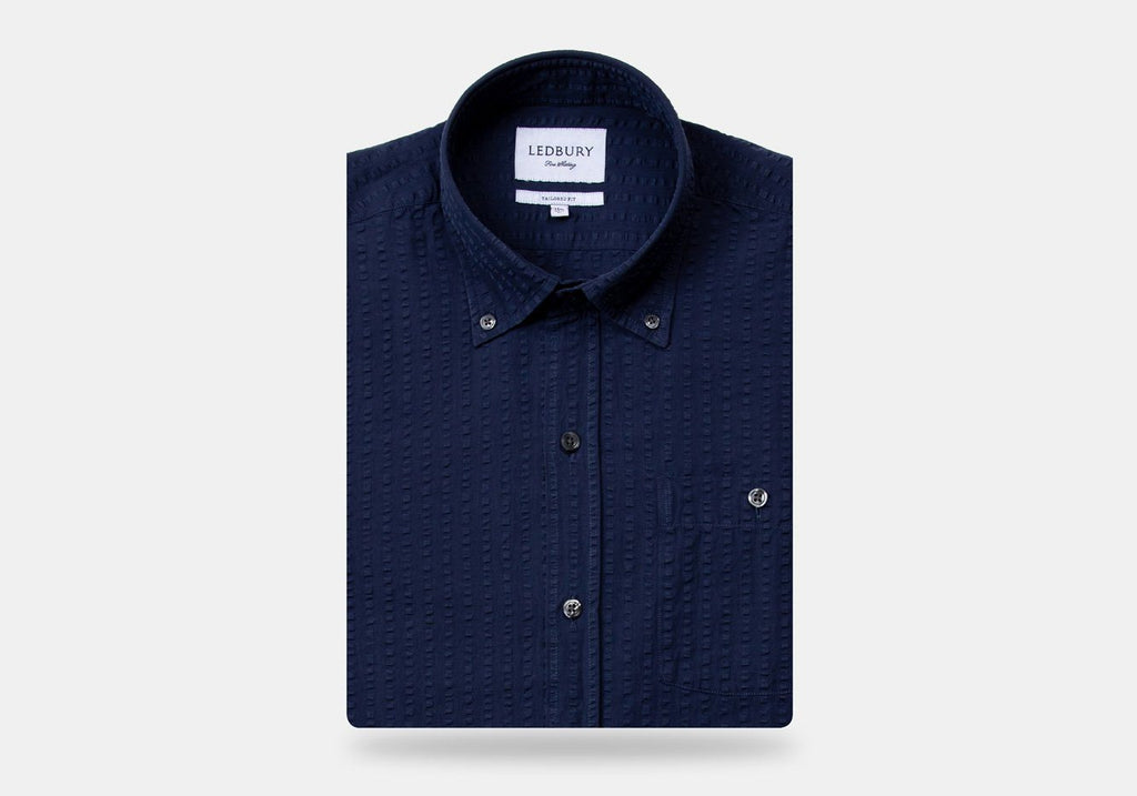 The Navy Stanston Seersucker Casual Shirt Casual Shirt- Ledbury