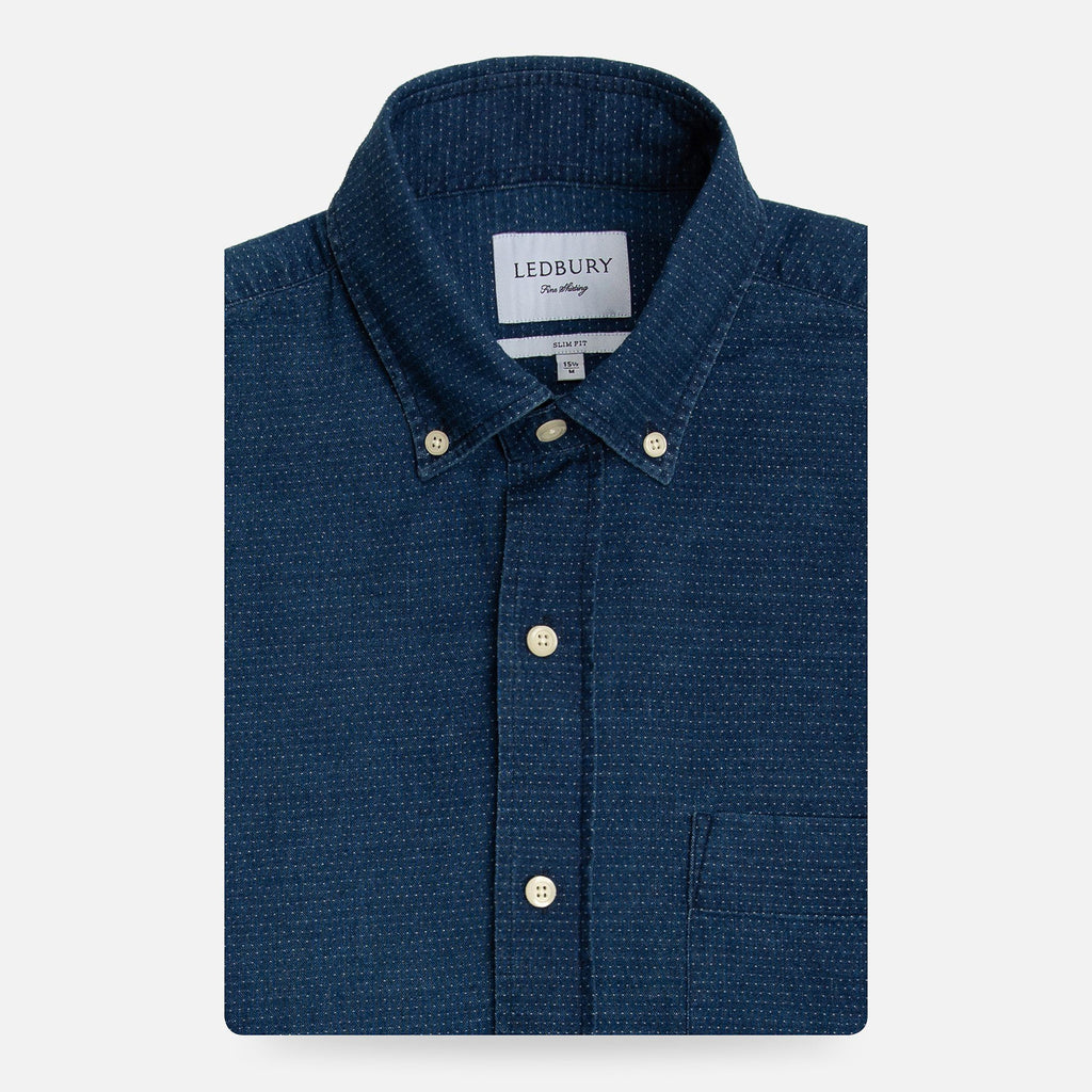 The Navy Stanfield Denim Casual Shirt Casual Shirt- Ledbury