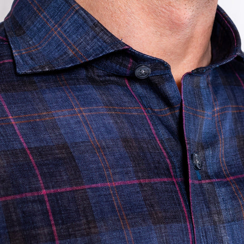 The Deep Blue Chelsea Linen Plaid Casual Shirt