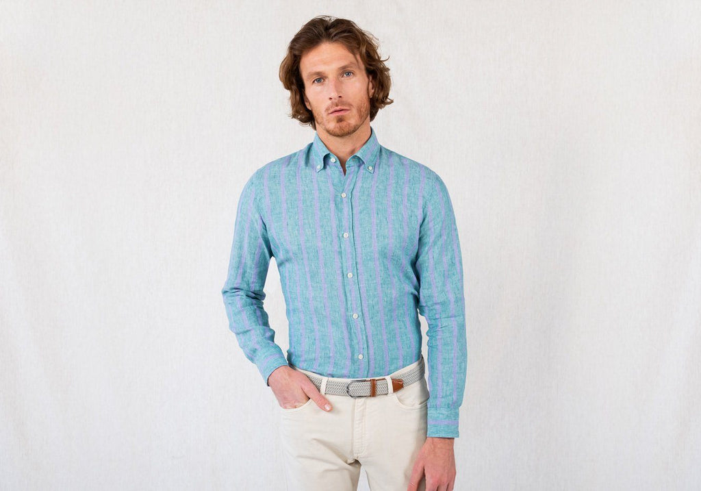 The Capehart Cotton Linen Stripe Casual Shirt Casual Shirt- Ledbury