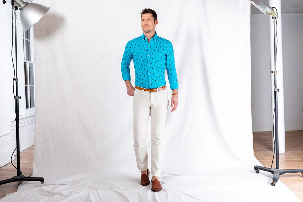 The Aqua McCabe Linen Print Casual Shirt Casual Shirt- Ledbury