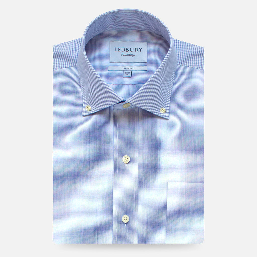 The Navy Fairlake Check Dress Shirt Dress Shirt- Ledbury