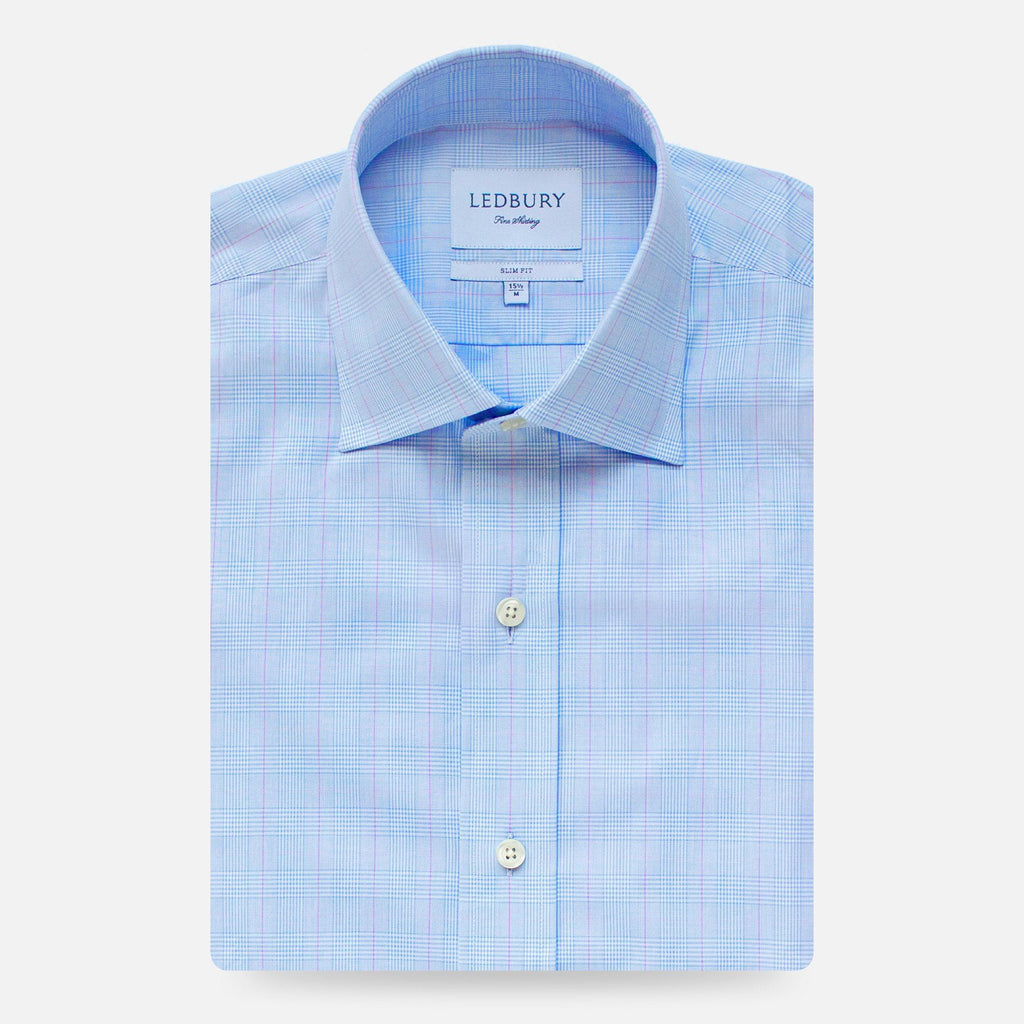 The Light Blue Tauton Check Dress Shirt Dress Shirt- Ledbury