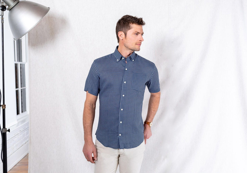 The Navy Short Sleeve Windham Print Casual Shirt