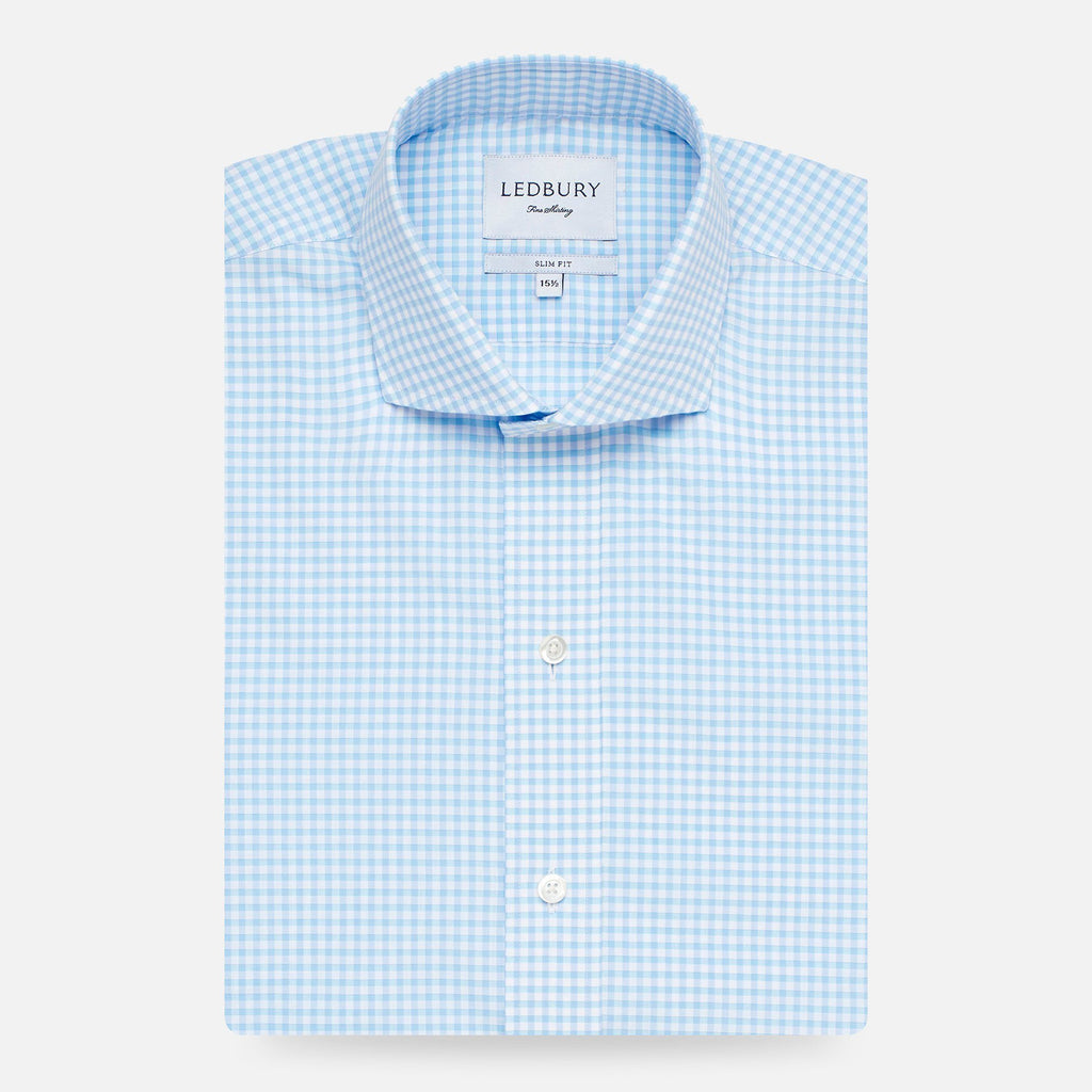 The Pool Blue Kirby Gingham Dress Shirt Dress Shirt- Ledbury