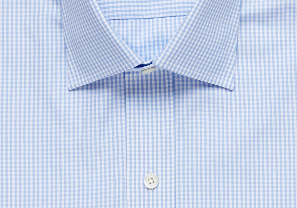 The Blue Gingham Poplin Dress Shirt Dress Shirt- Ledbury