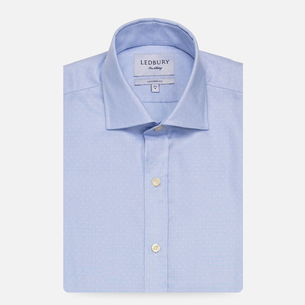 The Blue Dearborn Dot Dress Shirt Dress Shirt- Ledbury
