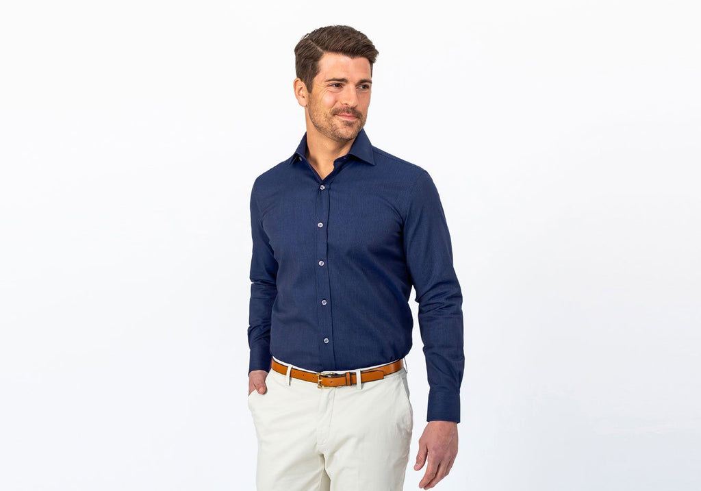 The Navy Ames Dobby Dot Dress Shirt Dress Shirt- Ledbury