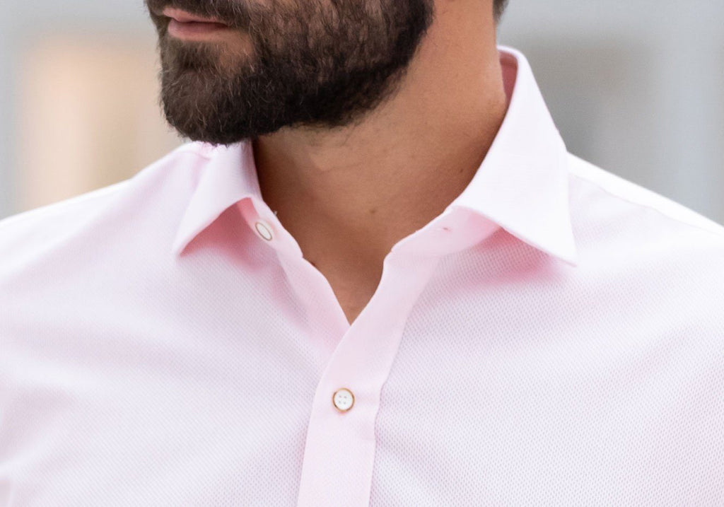 The Pale Pink Kent Sport Texture Dress Shirt Dress Shirt- Ledbury