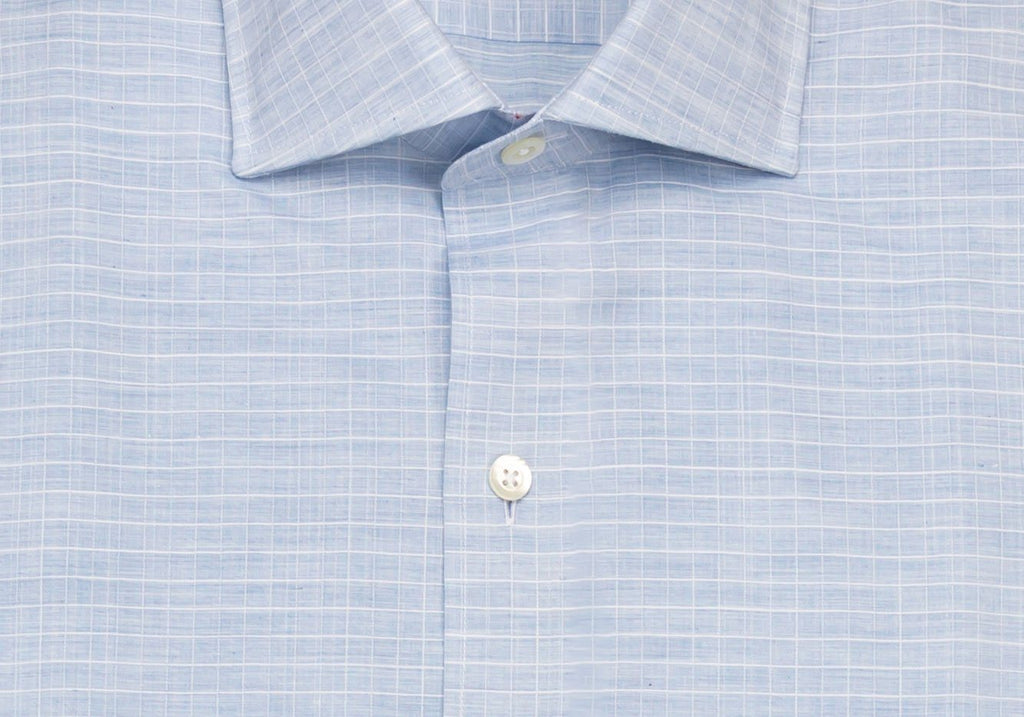 The Light Blue Crestwood Heather Windowpane Dress Shirt Dress Shirt- Ledbury