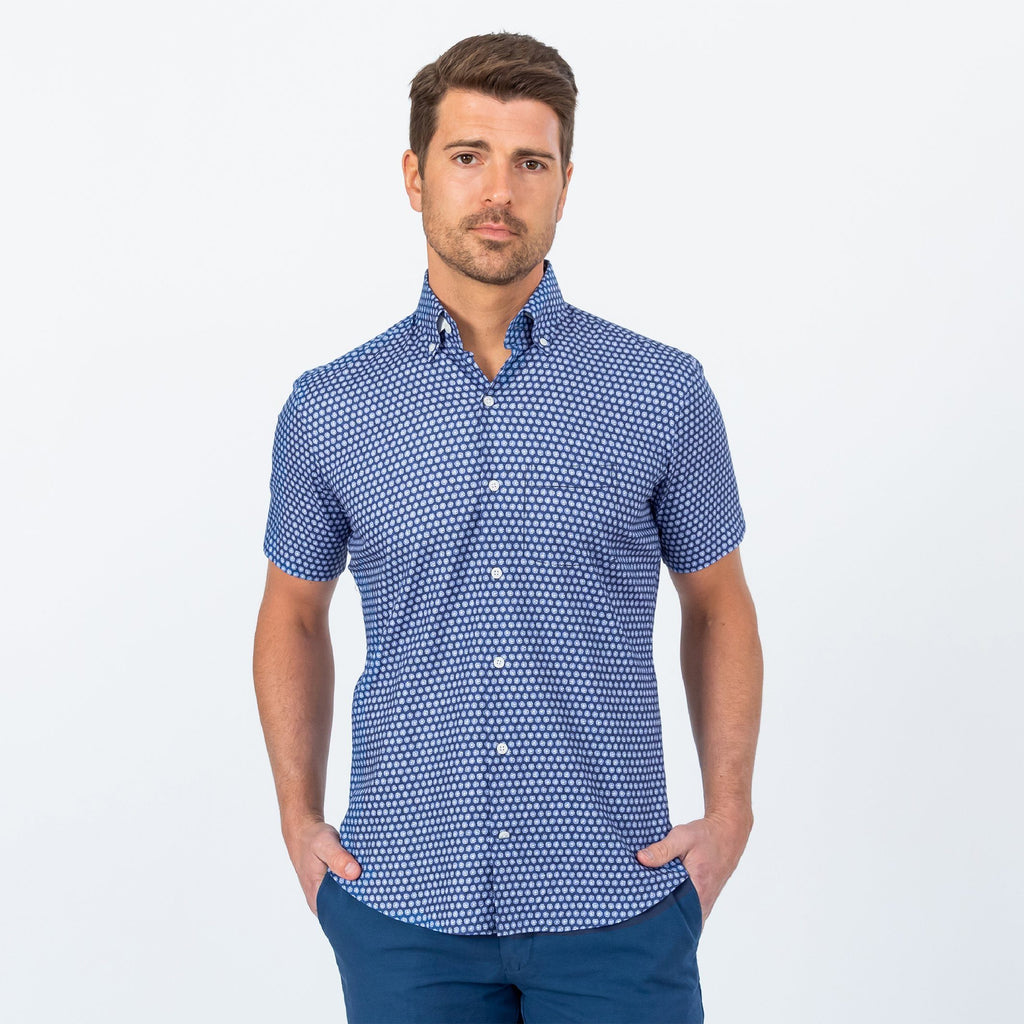 The Navy Short Sleeve Nowlen Dot Print Casual Shirt Casual Shirt- Ledbury
