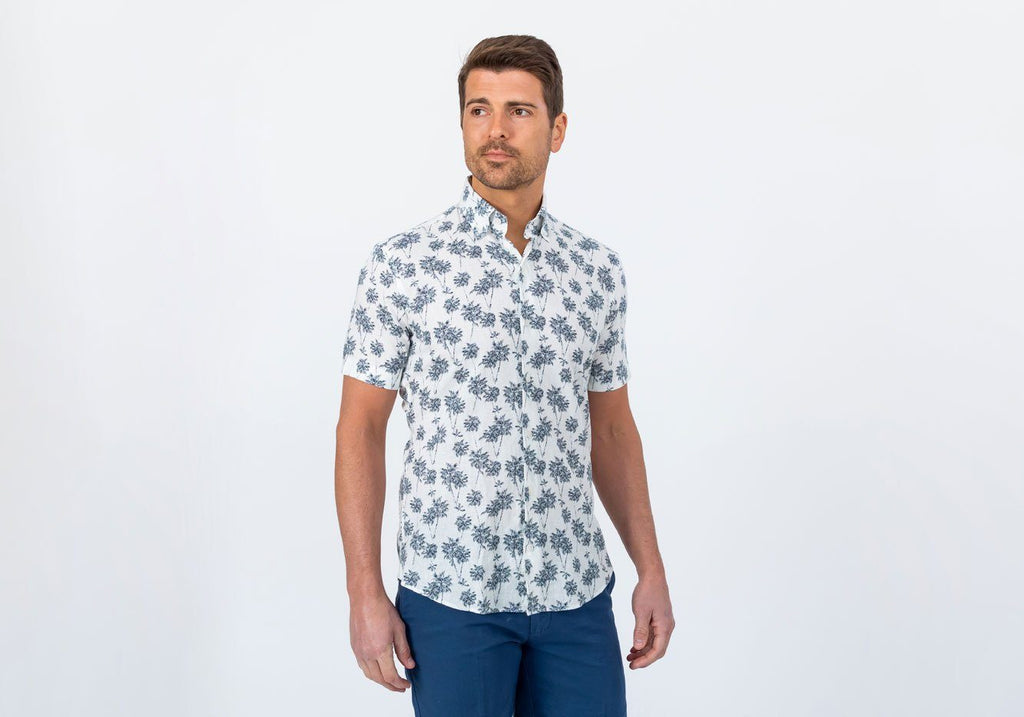 The Navy Short Sleeve Bennett Palm Print Casual Shirt Casual Shirt- Ledbury