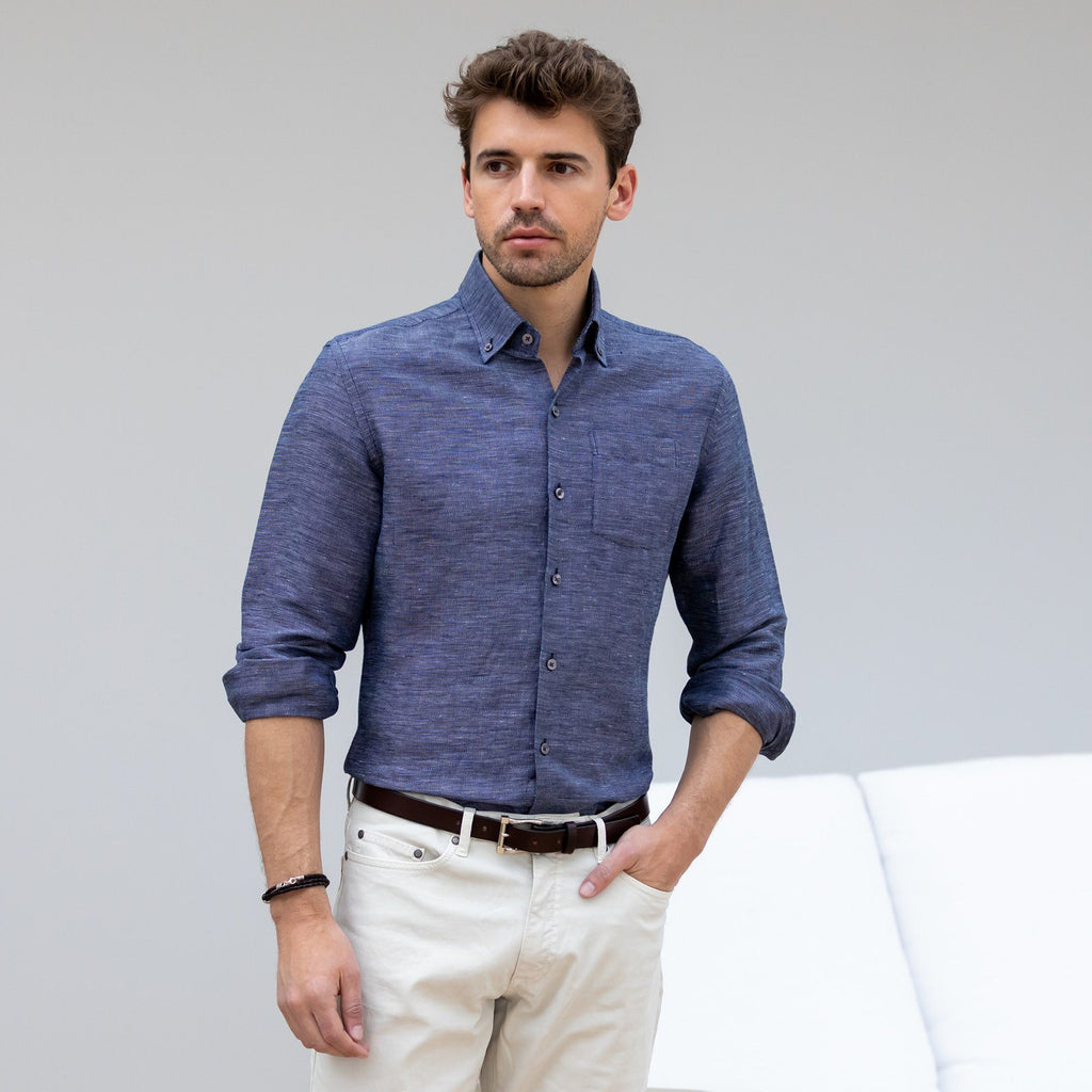 The Navy Allerton Cotton Linen Casual Shirt Casual Shirt- Ledbury