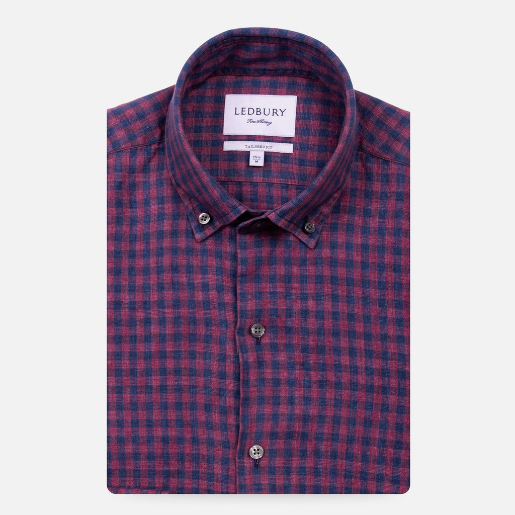 The Currant Grayton Cotton Linen Gingham Casual Shirt Casual Shirt- Ledbury