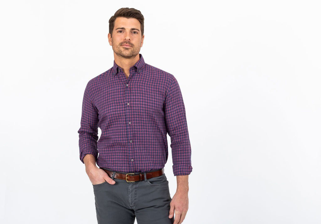 The Currant Grayton Cotton Linen Gingham Casual Shirt