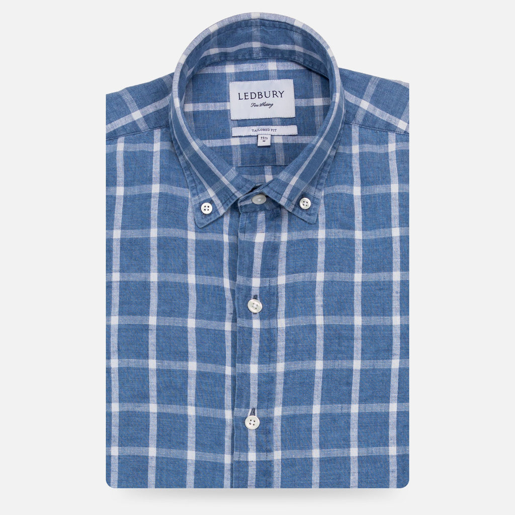 The Dark Blue Rowan Cotton Linen Windowpane Casual Shirt Casual Shirt- Ledbury