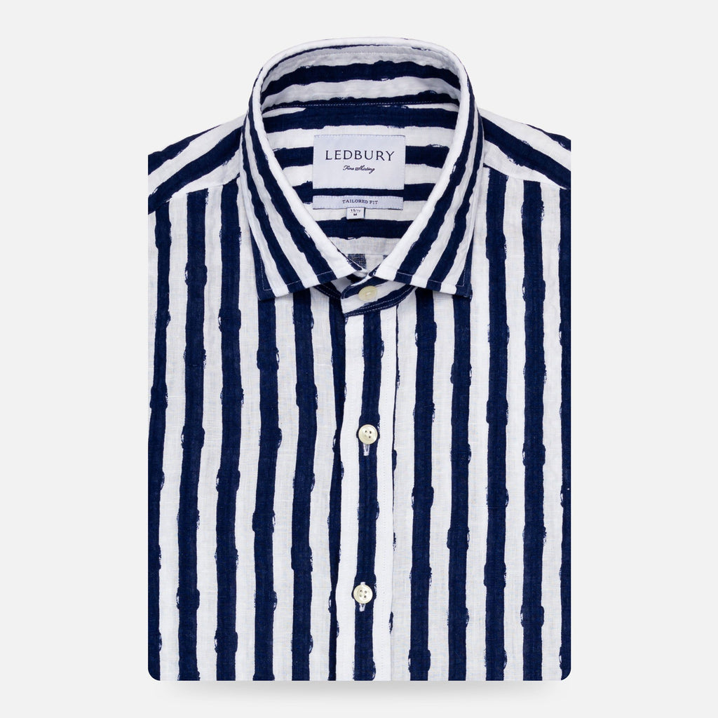 The Navy Tobin Linen Printed Seersucker Casual Shirt Casual Shirt- Ledbury