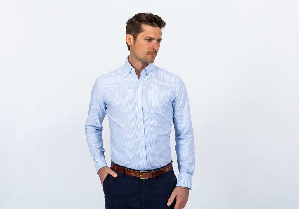 The Blue Mayfield Stripe Washed Oxford Casual Shirt Casual Shirt- Ledbury