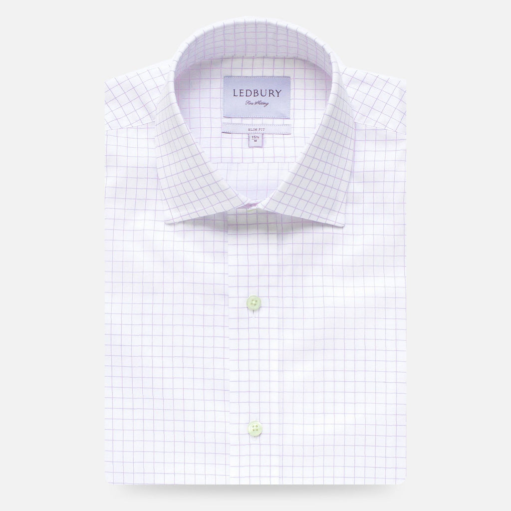 The Lavender Carrington Windowpane Dress Shirt Dress Shirt- Ledbury