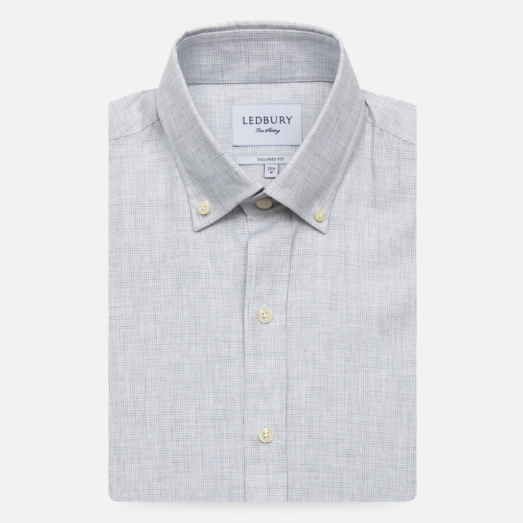 The Light Grey Heather Pennington Houndstooth Casual Shirt Casual Shirt- Ledbury