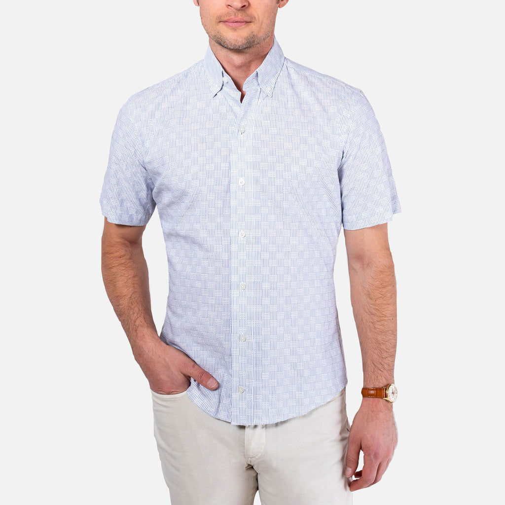 The Blue Short Sleeve Tamarack Stripe Casual Shirt Casual Shirt- Ledbury