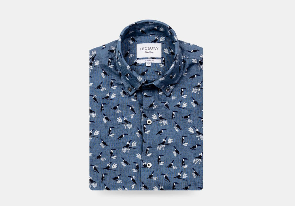 The Cadet Blue Short Sleeve Linen Brookshire Print Casual Shirt Casual Shirt- Ledbury