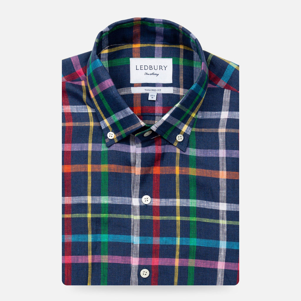 The Dark Blue Barden Linen Plaid Casual Shirt Casual Shirt- Ledbury