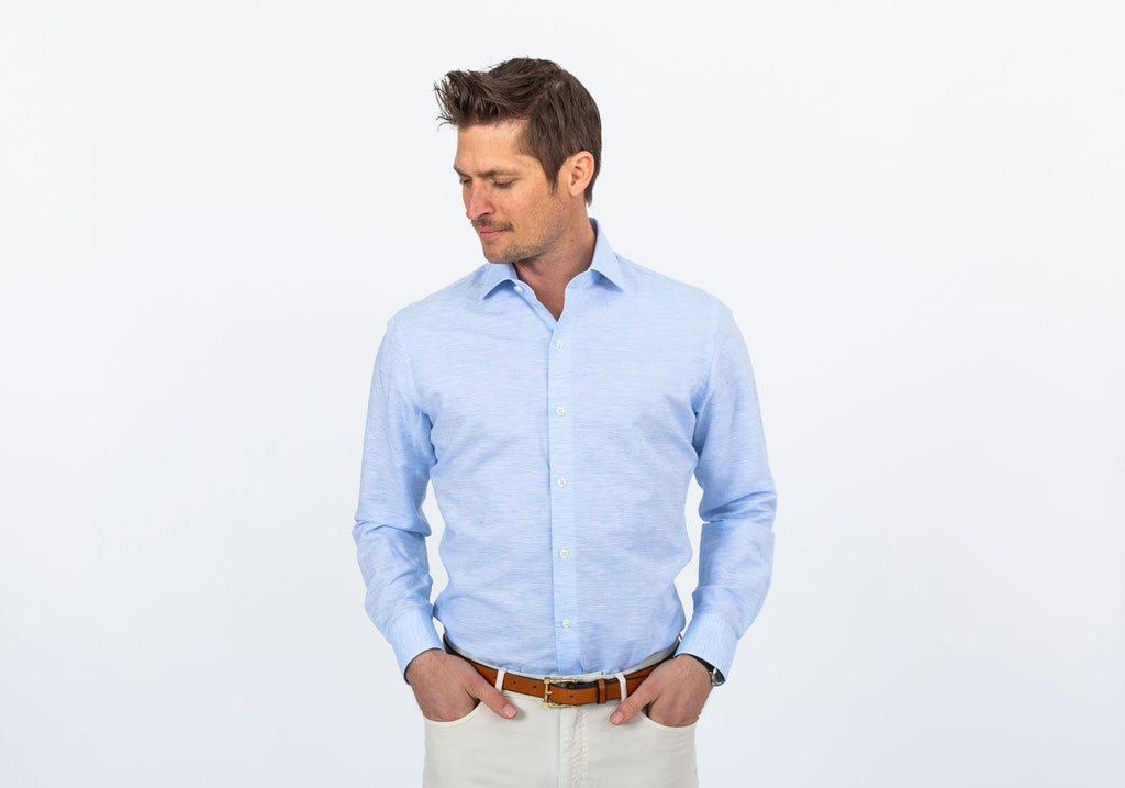 The Blue Edmundton Cotton Linen Casual Shirt Casual Shirt- Ledbury