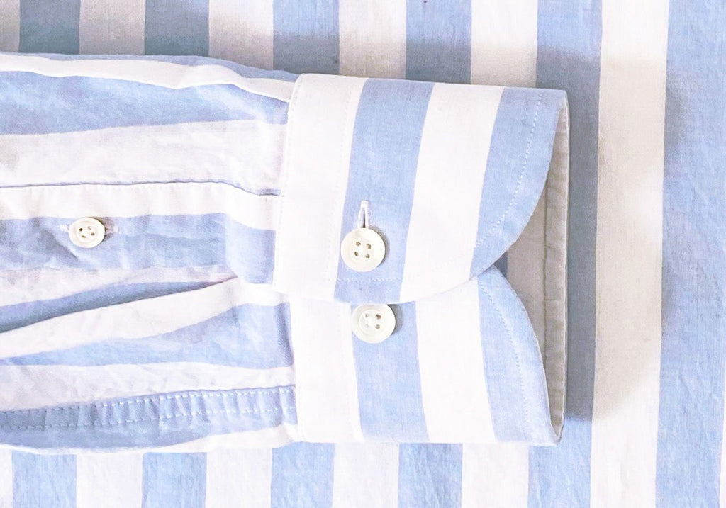 The Blue Newberry Cotton Linen Stripe Dress Shirt Dress Shirt- Ledbury