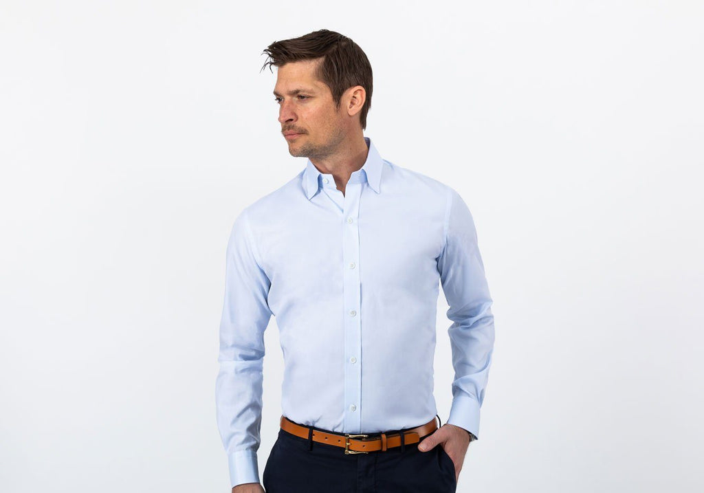 The Light Blue Draper Hidden-Button Dress Shirt Dress Shirt- Ledbury